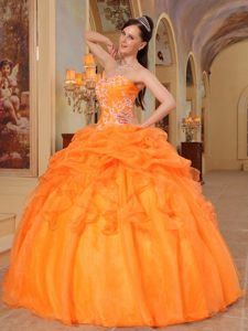 Appliqued Orange Sweet 15 Dresses with Pick ups and Ruffles 2014