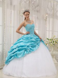 Beading and Pick ups Accent Sweet 15 Dresses in White and Aqua Blue