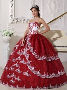 Wine Red and White Organza Sweet 15 Dresses with Appliques 2014