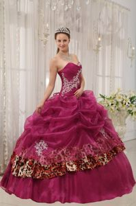 Appliqued Burgundy Sweet 15 Dresses with Pick ups and Leopard Print