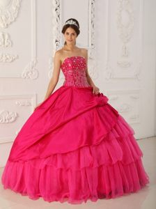 Beading and Ruffled Layers Accent Sweet 15 Dresses in Hot Pink