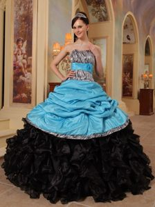 Ruffled Blue and Black Quinceanera Gown Dress with Zebra Print