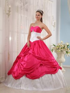 San Pedro CA White and Hot Pink Quinceanera Gown Dress with Appliques