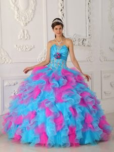 Appliqued and Ruffled Quinceanera Gown in Aqua Blue and Hot Pink