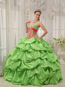 Beading and Pick ups Accent Quinceanera Gown in Spring Green