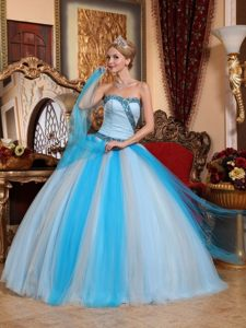 Beaded Light Blue Sweetheart Quinceanera Gown Dress Hot on Sale