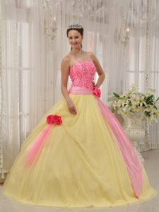 Pink and Yellow Quinceanera Gown Dress with Appliques and Flowers