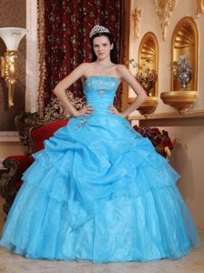 San Marino Aqua Blue Quinceanera Dresses with Beading and Pick ups