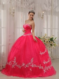 San Marcos CA Sweetheart Appliqued Quinceanera Dresses in Coral Red