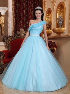 Light Blue One Shoulder Tulle Quinceanera Gown Dress with Sash