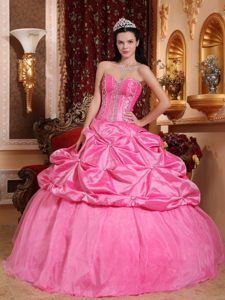 Beading and Pick ups Accent Quinceanera Dresses in Rose Pink
