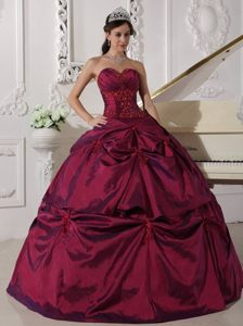 Beaded Wine Red Sweetheart Quinceanera Gown Dresses with Pick ups