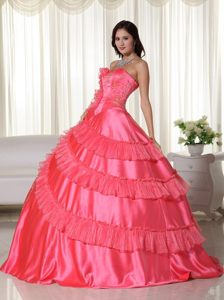 San Juan Capistrano CA Coral Red Quinceanera Dress with Ruffles
