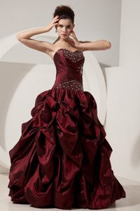 Beading and Pick ups Accent Quinceanera Gown Dresses in Wine Red