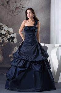 Ruffled One Shoulder Taffeta Quinceanera Gown Dresses in Navy Blue