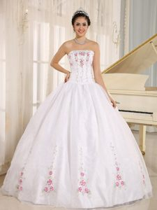 San Francisco CA Colorful Embroidery Accent White Quinceanera Gown