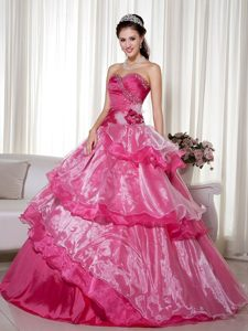 San Diego CA Hot Pink Organza Quinceanera Gowns with Beading