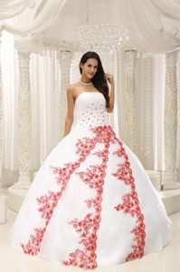 San Clemente CA White Quinceanera Gown with Red Appliques 2014
