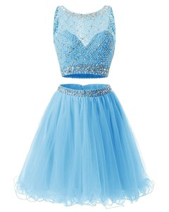 Baby Blue Prom Dress Prom and Party and For with Beading and Belt Sweetheart Sleeveless Side Zipper