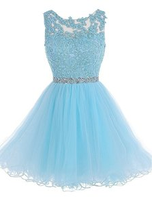 Fine Scoop Baby Blue Sleeveless Chiffon Zipper Prom Dresses for Prom and Party