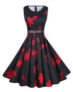 Smart Scoop Knee Length Red And Black Evening Dress Chiffon Sleeveless Sashes|ribbons and Pattern