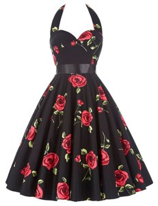 Graceful Halter Top Knee Length Red And Black Prom Party Dress Chiffon Sleeveless Sashes|ribbons and Pattern