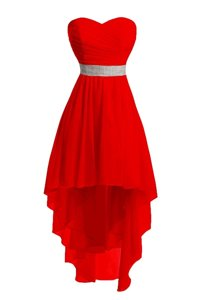 Hot Selling Red Lace Up Sweetheart Belt Prom Dress Organza Sleeveless