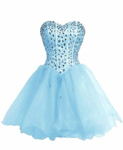 Baby Blue Sleeveless Beading Mini Length Prom Evening Gown