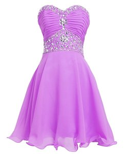 Fantastic Lilac Sweetheart Neckline Beading and Belt Prom Evening Gown Sleeveless Lace Up