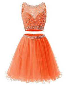 Orange A-line Organza Scoop Sleeveless Beading and Belt Mini Length Backless Prom Party Dress