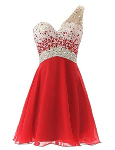 Cheap Red A-line Chiffon One Shoulder Sleeveless Beading Knee Length Criss Cross Prom Gown