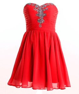 Popular Red Lace Up Sweetheart Beading Dress for Prom Chiffon Sleeveless