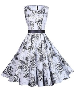 Sweet White And Black Scoop Zipper Sashes|ribbons and Pattern Prom Dresses Sleeveless