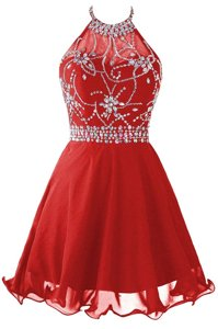 Vintage Red Halter Top Zipper Beading Prom Dresses Sleeveless