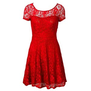 Red Side Zipper Scoop Lace Prom Dress Organza Short Sleeves