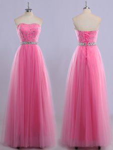 Modest Rose Pink Empire Sweetheart Sleeveless Tulle Floor Length Lace Up Beading Dress for Prom