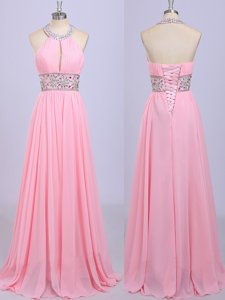 Sweet Halter Top Rose Pink Sleeveless Chiffon Zipper Prom Dresses for Prom