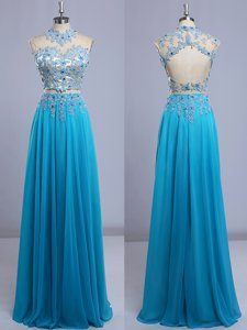Extravagant Baby Blue Cap Sleeves Chiffon Backless Prom Evening Gown for Prom and Party
