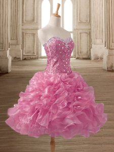 Sleeveless Mini Length Beading and Ruffles Lace Up Prom Dresses with Pink