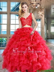 Pretty Sleeveless Floor Length Lace and Ruffles Zipper Sweet 16 Dress with Red