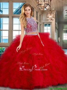 Pretty Red Two Pieces Scoop Sleeveless Tulle Floor Length Backless Beading and Ruffles Sweet 16 Dress