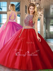 Fantastic Scoop Sleeveless Backless Ball Gown Prom Dress Red Tulle