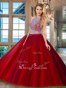 Affordable Sleeveless Tulle Backless Sweet 16 Dresses inRed forSpring and Summer and Fall and Winter withBeading