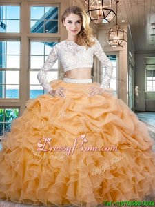 Exceptional Gold Scoop Zipper Beading and Lace and Ruffles Quinceanera Dresses Long Sleeves