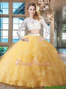 Colorful Gold Long Sleeves Beading and Lace and Ruffles Zipper Quinceanera Dress