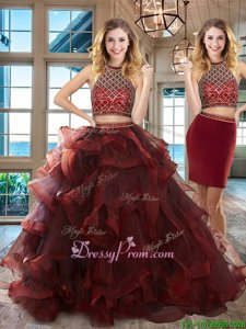 Trendy Burgundy Sleeveless Tulle Brush Train Backless Quinceanera Dresses forMilitary Ball and Sweet 16 and Quinceanera