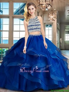 High Quality With Train Royal Blue Sweet 16 Dress Tulle Brush Train Sleeveless Spring and Summer and Fall and Winter Beading and Ruffles