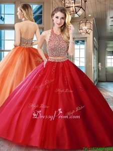 Simple With Train Red Quinceanera Dress Halter Top Sleeveless Brush Train Backless