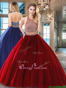 Customized Sleeveless Tulle Floor Length Backless Quinceanera Dress inWine Red forSpring and Summer and Fall and Winter withBeading