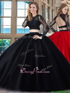 Floor Length Two Pieces Long Sleeves Black and Red 15 Quinceanera Dress Backless